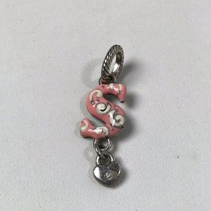 """Brighton Letter initial """"S"""" Charm with Heart ABC Charm, Rare Retired Silver Pink"""